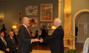 Ambassador Heyman presents his letters of credence to His Excellency the Right Honourable David Johnson.