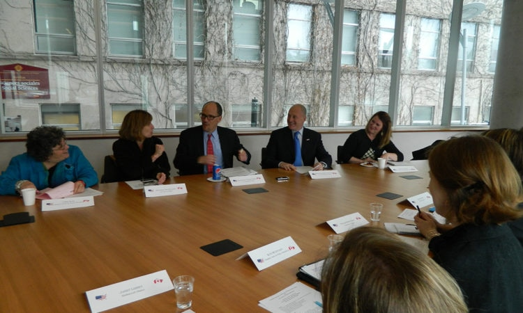 Ambassador Bruce Heyman and Labor Secretary Thomas Perez at a roundtable discussion the University of Ottawa.