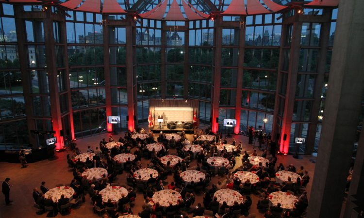 Overhead shot of Ambassador Heyman speaking at the National Gallery of Canada.