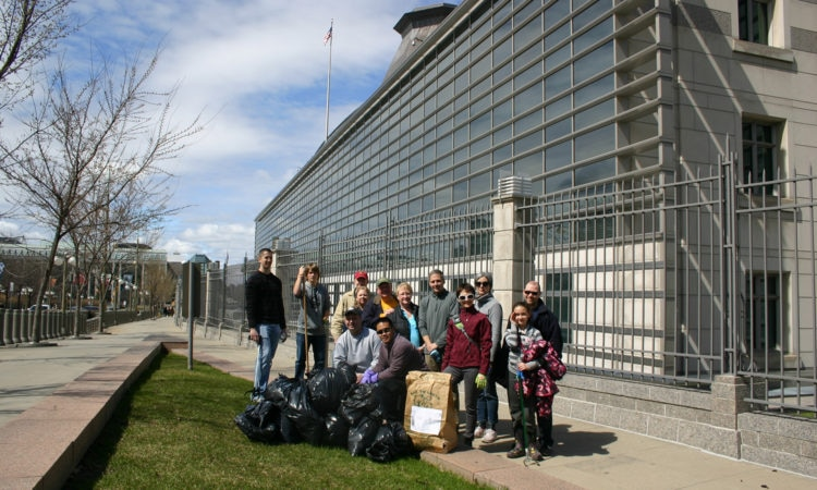 Embassy volunters take part in the City of Ottawa's annual Cleaning the Capital campaign.