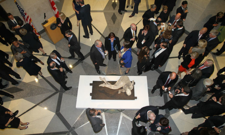 Eric Fischl's Tumbling Woman acts a a centrepiece at a reception for the 9/11 Memorial and Museum at the U.S. Embassy in Ottawa.