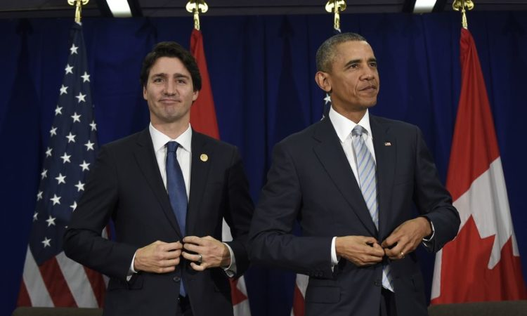 President Obama and Canada's Prime Minister Justin Trudeau following their bilateral meeting at the Asia-Pacific Economic Cooperation summit in Manila. (AP Images)