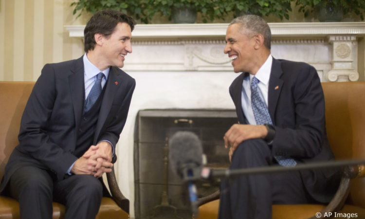 President Barack Obama meets with Canadian Prime Minister Justin Trudeau, Thursday, March 10, 2016, in the Oval Office of the White House in Washington. (AP Photo/Pablo Martinez Monsivais)