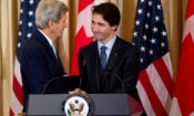 Secretary of State John Kerry shakes hands with Canadian Prime Minister Justin Trudeau during a luncheon meeting at the State Department in Washington, Thursday, March 10, 2016. (AP Photo/Manuel Balce Ceneta)
