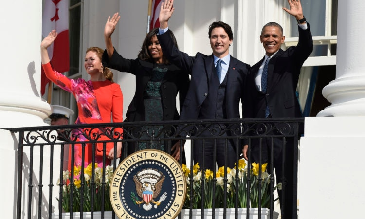 President Barack Obama, Canadian Prime Minister Justin Trudeau, first lady Michelle Obama, and Sophie GregoireTurdeau, wave from the Truman Balcony during a state arrival ceremony on the South Lawn of White House in Washington, Thursday, March 10, 2016. (AP Photo/Susan Walsh)