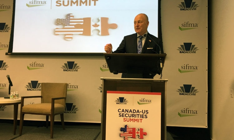 Ambassador Heyman addresses SIFMA's Canada-U.S. Securities Summit. (Credit US Embassy Ottawa)