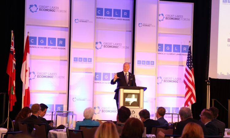 Ambassador Heyman speaks at the Great Lakes Economic Forum. (Credit US Consulate Toronto)