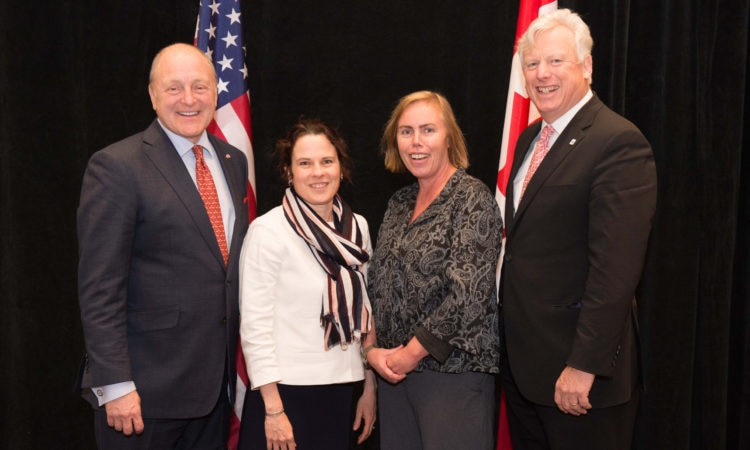 (From left) Ambassador Bruce Heyman, Sue Tuxbury of the National Oceanic and Atmospheric Administration, Jen McCann of the Rhode Island Sea Grant, and David Miller, President & CEO of WWF-Canada. (Credit US Embassy Ottawa)