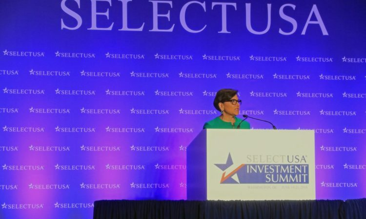 Secretary Pritzker addresses the SelectUSA 2016 Conference. Credit Department of Commerce.