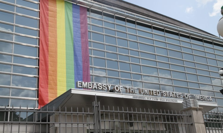U.S. Embassy Ottawa flies the Pride Flag in support of Capital Pride Week. Credit US Embassy Ottawa.