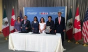 Secretary of State Kerry and Commerce Secretary Pritzker join with their Canadian and Mexican colleagues to sign the Memorandum of Understanding. (Credit Twitter/Government of Mexico)