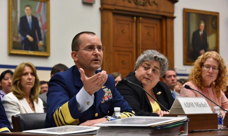 Vice Commandant Adm. Charles Michel testifies at a hearing focused on Arctic capabilities July 12, 2016. U.S. Coast Guard photo by Petty Officer 2nd Class Patrick Kelley.