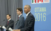 President Barack Obama, Canadian Prime Minister Justin Trudeau and Mexican President Enrique Pena Neito participate in a trilateral news conference for the North America Leaders' Summit at the National Gallery of Canada, Wednesday, June 29, 2016 in Ottawa, Canada. (AP Photo/Pablo Martinez Monsivais)