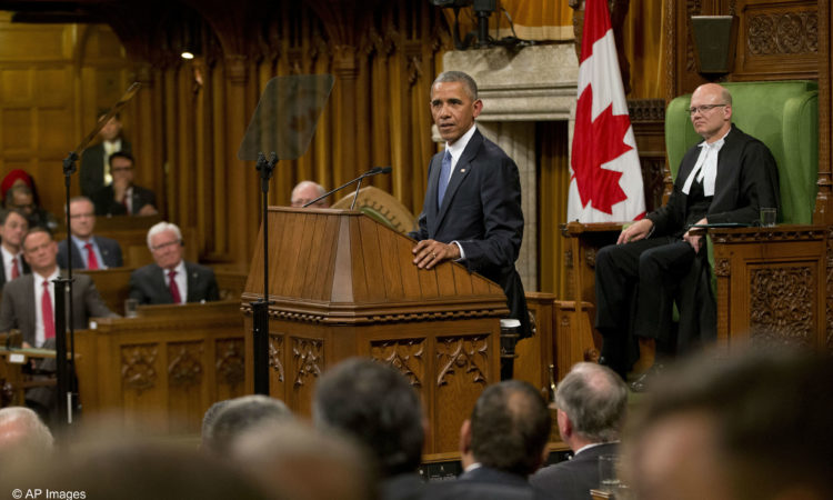 President Barack Obama addresses the Canadian Parliament in the House of Commons in Ottawa as House Speaker Geoff Regan, right, looks on, Wednesday, June 29, 2016. (AP Photo/Pablo Martinez Monsivais)