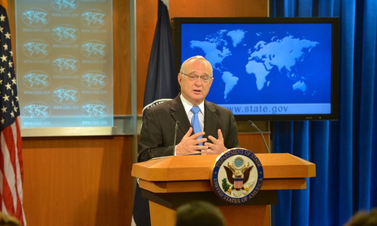 """Ambassador-at-Large for International Religious Freedom David Saperstein participates in a Q&A following remarks by Deputy Secretary Antony """"Tony"""" Blinken in regards to the release of the 2015 Annual Report on International Religious Freedom at the U.S. Department of State in Washington, D.C. on August 10, 2016. [State Department Photo/ Public Domain]"""