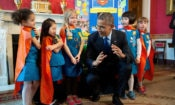President Barack Obama views science exhibits during the 2015 White House Science Fair celebrating student winners of a broad range of science, technology, engineering, and math (STEM) competitions, in the Red Room, March 23, 2015. The President talks with Emily Bergenroth, Alicia Cutter, Karissa Cheng, Addy O'Neal, and Emery Dodson, all six-year-old Girl Scouts, from Tulsa, Oklahoma. They used Lego pieces and designed a battery-powered page turner to help people who are paralyzed or have arthritis. (Official White House Photo by Chuck Kennedy)