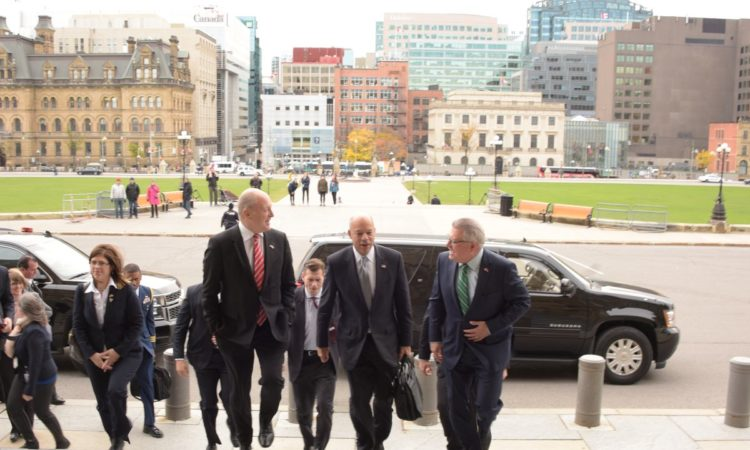 Secretary Johnson and Ambassador Heyman walk up the steps of Parliament with Canadian Public Safety Minister Ralph Goodale. Secretary Johnson was in Ottawa to participate in bilateral meetings with Canadian counterparts to discuss continued cooperation on priority issues for both governments (DHS Photo/Jetta Disco)
