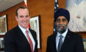 U.S. Special Presidential Envoy for the Global Coalition to Counter ISIL/Da'esh Brett McGurk with Canadian Minister of Defence Harjit Sajjan.