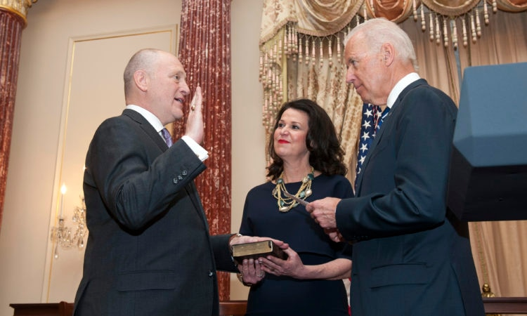 Vice President Joe Biden swears in Bruce Heyman as the U.S. Ambassador to Canada at the U.S. Department of State in Washington, D.C., on March 26, 2014. [State Department photo/ Public Domain]