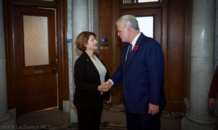 Premier Couillard meets with Quebec Consul General Allison Areias Vogel.