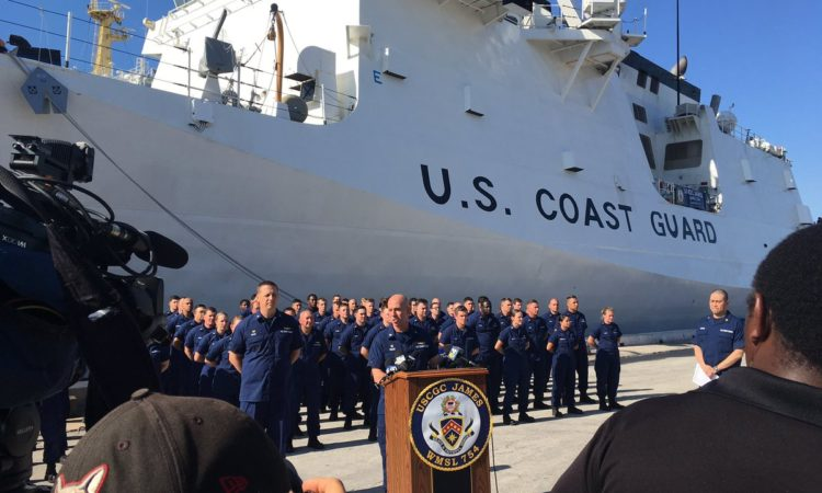 U.S. Coast Guard representatives discuss their interdiction efforts. Credit US Coast Guard.
